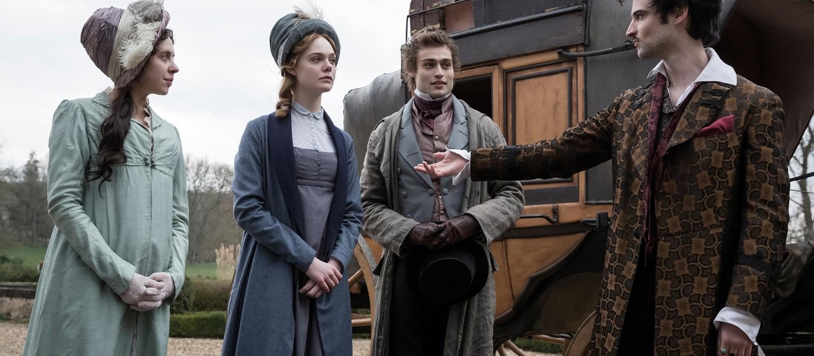 Tom Sturridge, Elle Fanning, Bel Powley y Douglas Booth en Mary Shelley (2017)