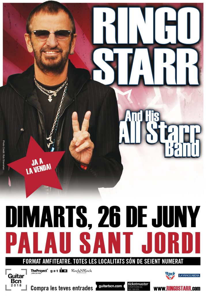 Cartel del concierto en Barcelona de Ringo Starr and the All Starr Band.