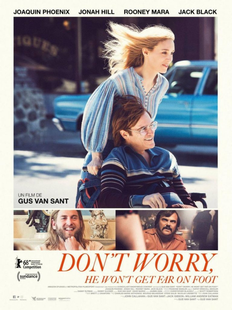 Póster del film No te preocupes, no llegará lejos a pie, de Gus van Sant.