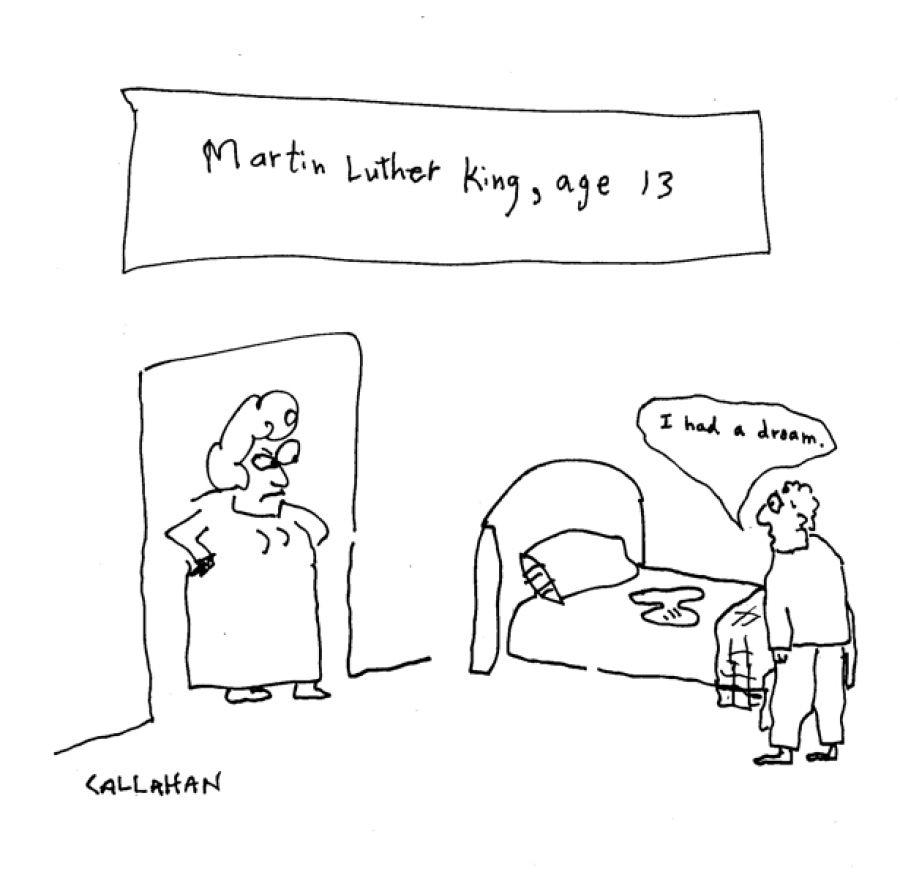Martin Luther King a la edad de 13 años. Viñeta de John Callahan.