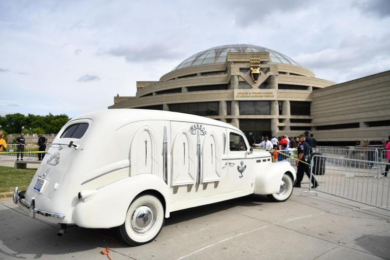 El coche fúnebre de Aretha Franklin.