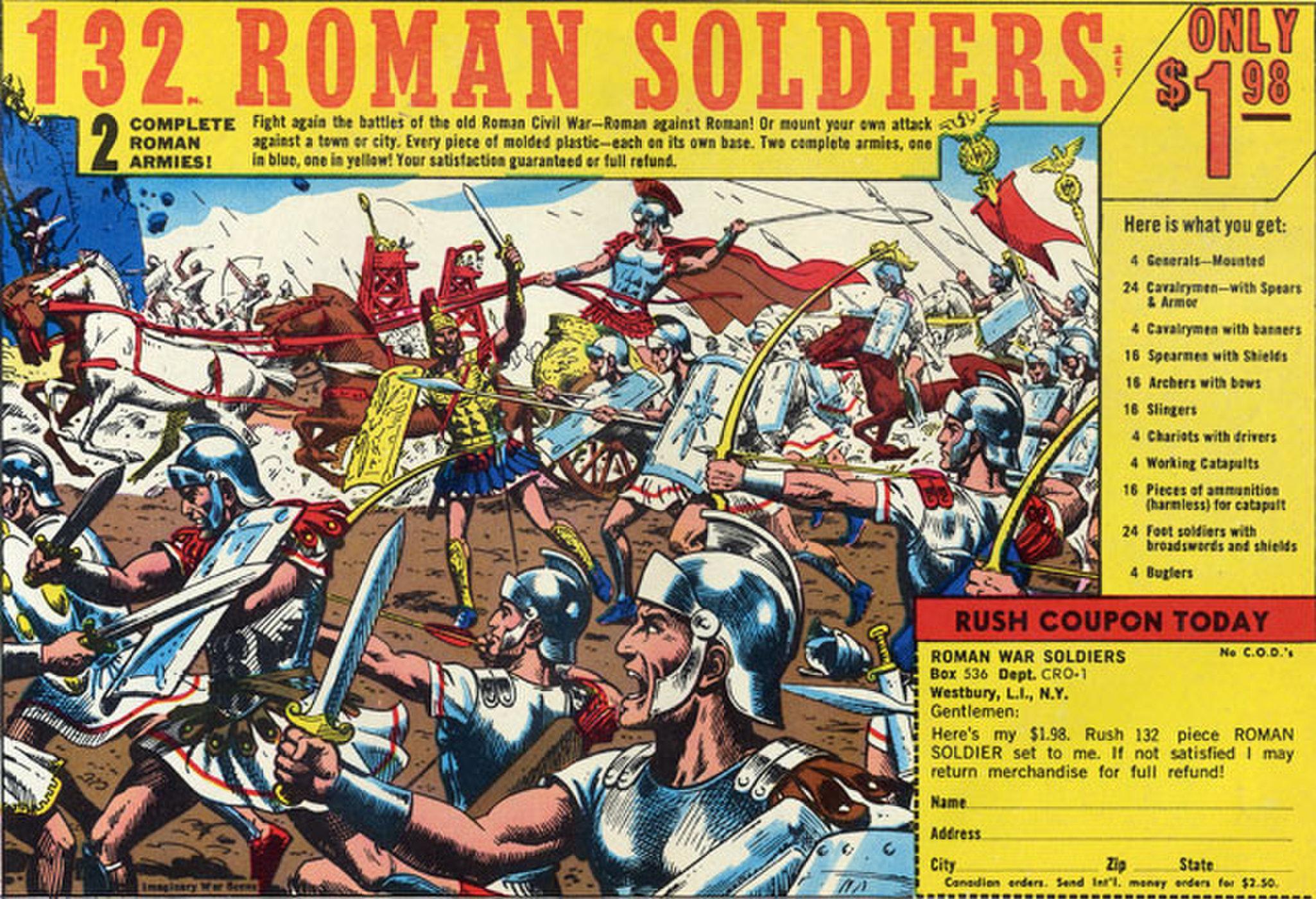 Anuncio de soldaditos romanos de Russ Heath.