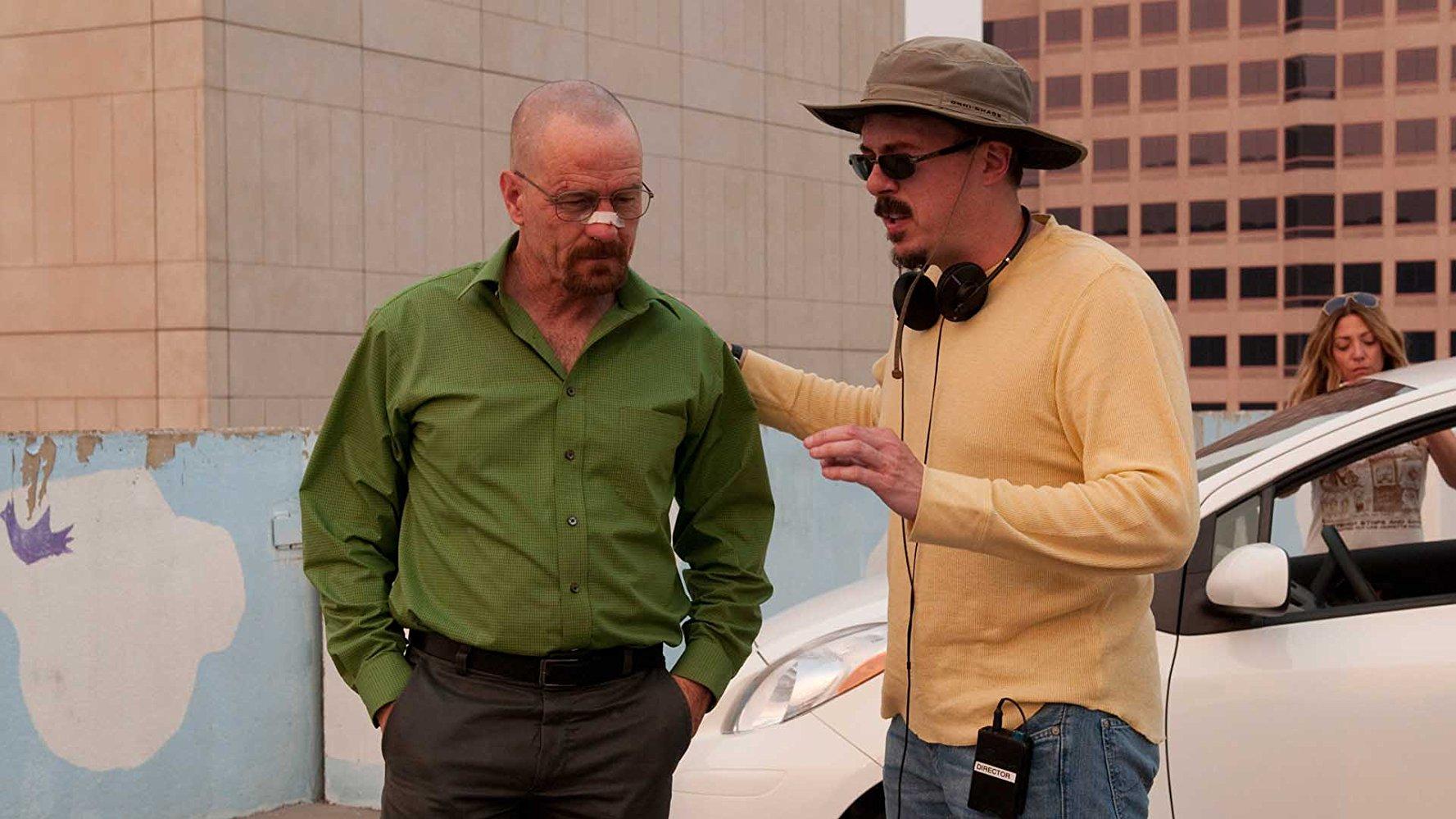 Bryan Cranston y Vince Gilligan en el rodaje de Breaking Bad.